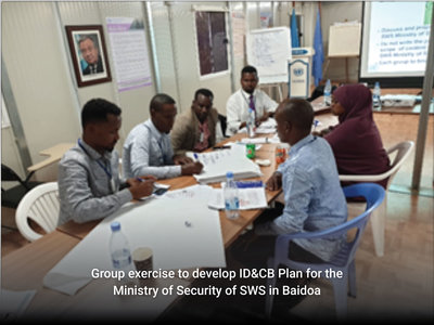 Group exercise to develop ID&CB Plan for the Ministry of Security of SWS in Baidoa