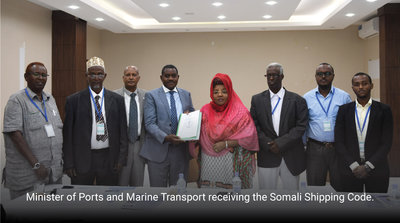 Minister of Ports and Marine Transport receiving the Somali Shipping Code