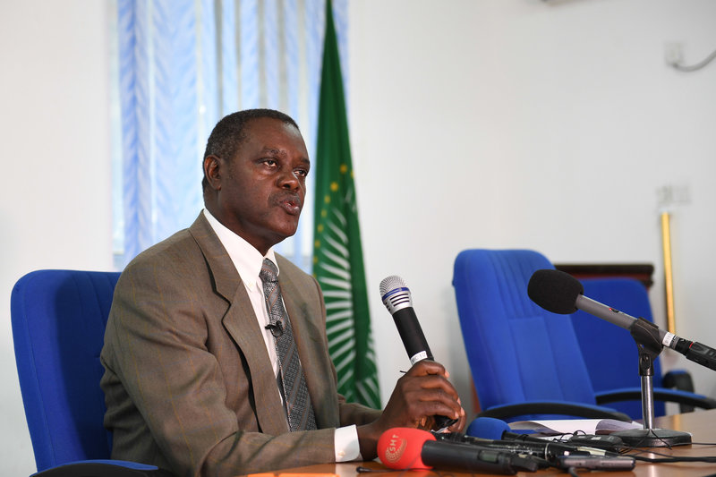 The UN Independent Expert on the situation of human rights in Somalia, Bahame Tom M. Nyanduga, addresses a press conference in Mogadishu, Somalia, on 25 July 2019. UN Photo / Omar Abdisalan