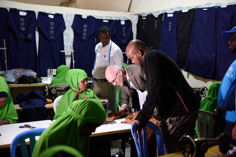 The UN envoy to Somalia, James Swan, visits a livelihood project supported by the United Nations High Commission for Refugees (UNHCR) in Hargeisa, Somaliland, on 27 July 2019. The livelihood project is contributing to skills development, job creation and