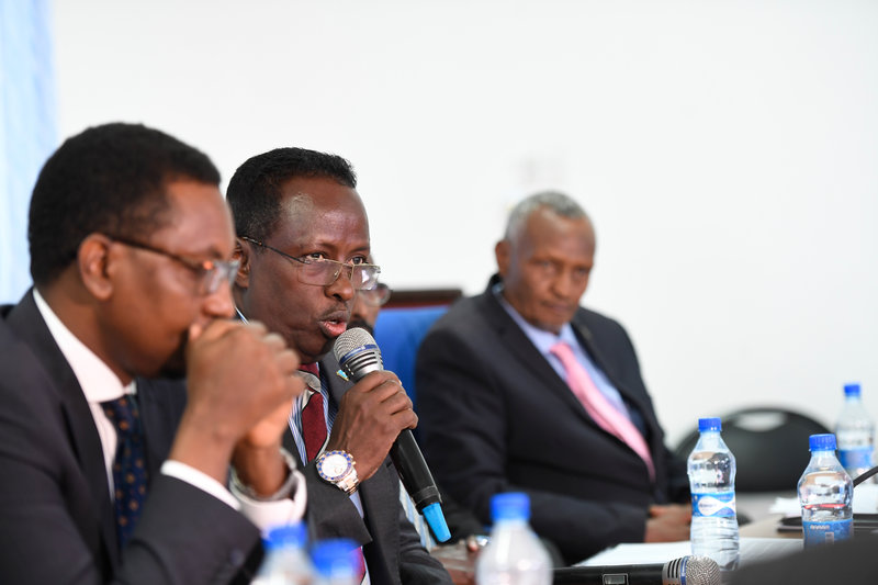 Mohamed Abdi Hayir, the Minister of Information, Culture & Tourism of the Federal Government of Somalia, speaks at a consultative meeting on communication and public awareness held in Somalia on 20 August 2019. The meeting was also attended by representat