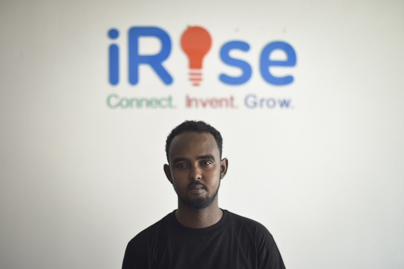 Awil Abdi, CEO and Cofounder of iRise Hub, stands in the offices of Mogadishu's first tech innovation hub. The hub's aim is to provide both a place for the city's budding tech entrepreneurs to work, as well as offer them guidance along the way.