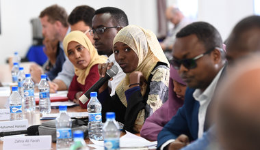A member of the UN Youth Advisory Board asks a question during a meeting with Oscar Fernandez-Taranco, the UN Assistant Secretary-General for Peacebuilding Support, and James Swan, the UN Secretary-General's Special Representative for Somalia, in Mogadish