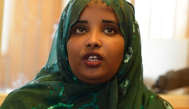 Goodwill Ambassador Fatima Abdi Warsame advocating for 30 per cent of seats to be reserved for women representatives in both houses of Somalia's next federal parliament, .