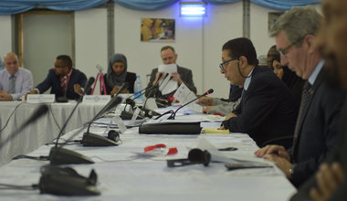 The Assistant Secretary-General for Humanitarian Affairs of the OIC, H.E. Ambassador Hesham Yussef, giving an opening address at the Humanitarian Coordination Meeting for the Renewed Commitment to Prevent Famine in Somalia in the capital of Mogadishu on April 11, 2017. UN Photo