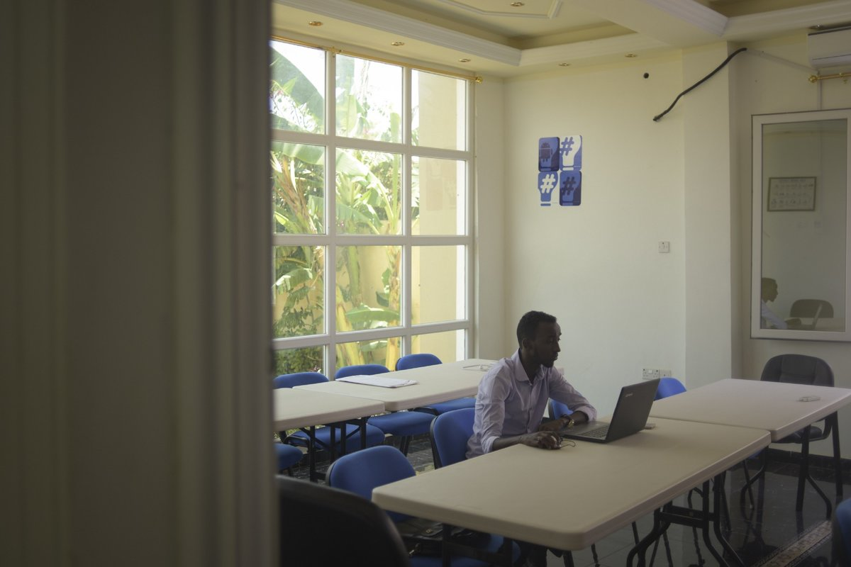 A young man works on his computer in the offices of Mogadishu's first tech innovation hub, iRise. The hub's aim is to provide both a place for the city's budding tech entrepreneurs to work, as well as offer them guidance along the way.